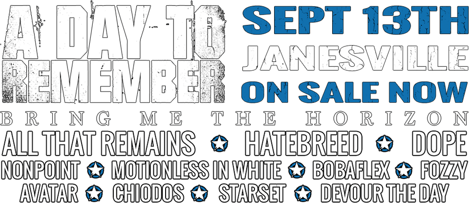 JJO Sonic Boom featuring A Day To Remember, Bring Me The Horizon, All That Remains, Hatebreed, Dope, Motionless In White, Nonpoint, and more!